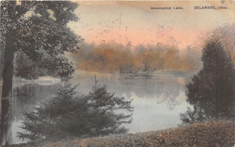 Delaware Ohio~Greenwood Lake~Small Evergreen Trees in Foreground~1908 Postcard