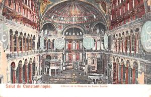 Turkey Old Vintage Antique Post Card Interieur de la Mosquee de Sainte Sophie...