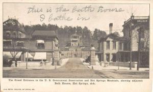 Hot Springs Arkansas Grand Entrance Bath Houses Antique Postcard K38750