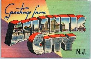 Vintage ATLANTIC CITY NJ Large Letter Postcard Colorful Linen #7877 Unused 1940s
