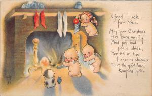 Rose O'Neill Christmas~Kewpies Warm Up at Fireplace~Dog & Bird~1919 Gibson Art