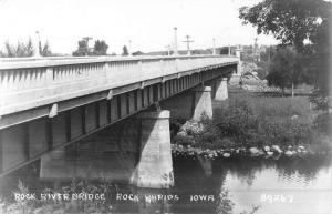 Rock Rapids Iowa River Bridge Real Photo Antique Postcard K50030