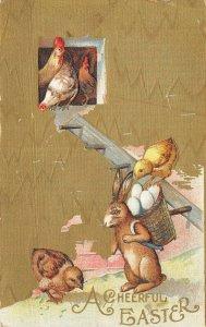 Easter~Rabbit With Egg Back Basket~Hens & Chicks in Coop~Laddy~Gold Back Emboss