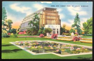 Linen Postcard Used 10/1951 Jewel Box Forest Park St Louis MO LB