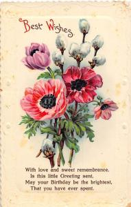 Best Wishes! With love and sweet remembrance, Birthday Greetings, Poppy Flowers!