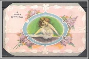 A Happy Birthday - Lilacs - Young Girl - Embossed