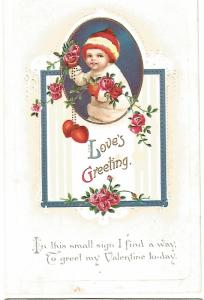 Loves Greeting Valentine's Day Postcard Little Child Snowsuit Holding Red Roses