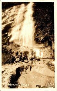 Vtg Postcard RPPC 1930s AZO - Yosemite Naitonal Park Bridal Veil Falls Base UNP