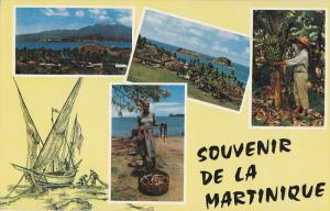 Martinique , 4-view postcard , 50-60s