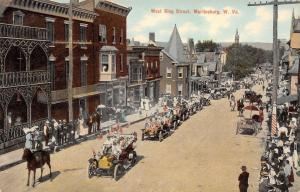 Martinsburg West Virginia~West King Street Automobile Parade~Flags~Crowds~1909
