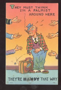 HOBO BUM DRIFTER SMOKING LOOKING FOR A HANDOUT VINTAGE COMIC POSTCARD