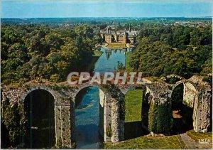 Postcard Modern Maintenon Chateau L Aerial view of aqueduct