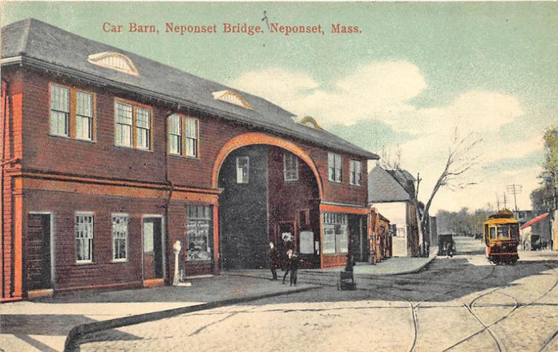 Neponset MA Trolley Barn Neponset Bridge Weigh Scales Postcard