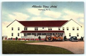 Postcard NC Hatteras Village Outer Banks OBX Atlantic View Hotel Linen F01