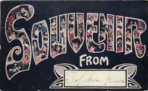 Topeka Kansas~Large Letter SOUVENIR Lovely Ladies & Hats~1909 Postcard