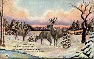 1940s Artist-Signed DUDE LARSEN Western Postcard Enchantment Elk Snow - Linen