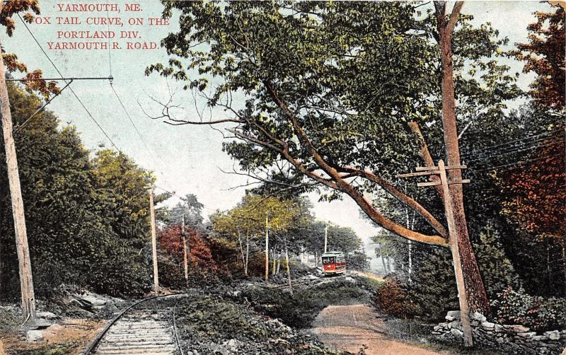 Yarmouth Maine~Portland Division Yarmouth Railroad~Foxtail Curve~c1910 Postcard