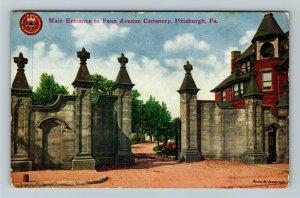 Pittsburgh PA-Pennsylvania Main Entrance Penn Avenue Cemetery Vintage Postcard