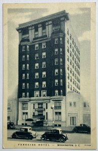 VTG Old Linen Era Advertising Postcard Parkside Hotel Washington, DC Unused Good