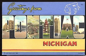 USA Postcard Large Letter Greetings From Pontiac Michigan CDS 1944