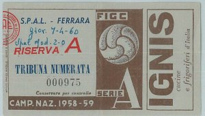 C0338 - Vecchio  BIGLIETTO PARTITA CALCIO - 1958/59  : S.P.A.L. - MODENA
