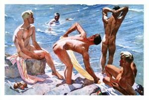 Fine morning by Deyneka Nude Man Gay Socialist Realism Fine Art Russian Postcard