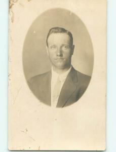 circa 1920 rppc MAN IN SUIT AND TIE AT STUDIO Minneapolis - St. Paul MN r7152-12