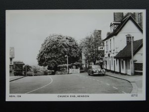 London Barnet HENDON Church End shows THE GREYHOUND INN - Old RP Postcard