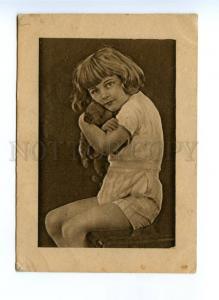 137862 SOVIET LIFE AVANT-GARDE Girl TEDDY BEAR vintage Rus PC