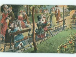 Pre-Linen Slight Risque Interest ROMANTIC COUPLES ON PARK BENCHES AB7347