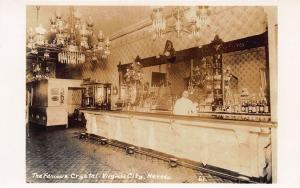 Virginia City NV The Famous Crystal Interior Liquor Real Photo Postcard