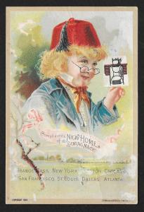 VICTORIAN TRADE CARD New Home Sewing Co Fancy Dresses Boy in Red Hat c1891