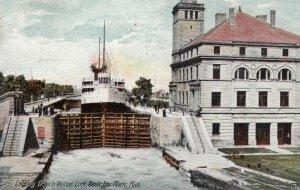 SAULT STE. MARIE, Michigan, 1907 ; Looking Down in Weitzel Lock