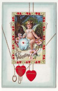 P83 JLs old valentines postcard cupid embossed hearts