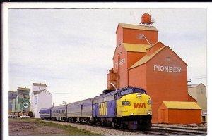 Railway Train, Grain Elevators, Innisfail, Alberta