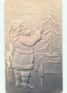 Pre-Linen Christmas HEAVILY EMBOSSED - SANTA CLAUS DECORATING SMALL TREE AB4692