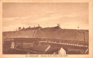 St Ghislain Belgium, Belgique, Belgie, Belgien Chemin de fer aerien et les te...