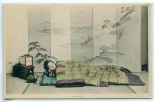 Japanese Woman at Night Sleeping Japan 1905c hand colored postcard