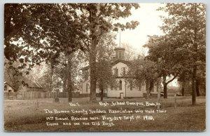 Buda Illinois~High School Campus~Civil War Soldiers Reunion~Old Boys~1910 RPPC
