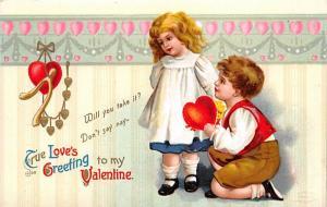 Artist Ellen Clapsaddle Valentines Day Postcard Writing on back