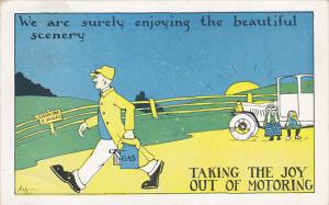 Humour Taking The Joy Out Of Motoring Car Out Of Gas 1924 Signed Ash