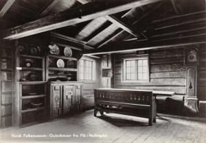 Vintage Norway RP Postcard Norsk Folk Museum Gulsvik room, Hallingdal Z55