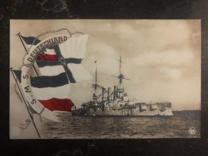Mint Germany RPPC Postcard SMS Deutschland Battleship Kaiserliche Marine WWI