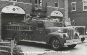 Weymouth MA Fire Engine #4 & Dept Bldg Real Photo Postcard