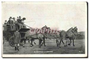 Old Postcard Geoffroy Policy & # 39Andigne Caleche Horses