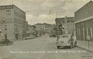 Lewiston MT Gas Station Street Vue Cars RPPC Postcard