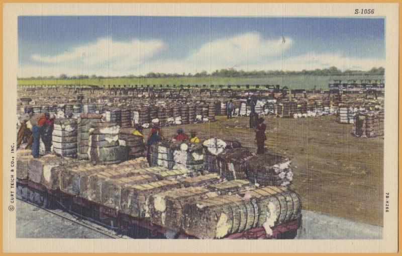 Scenes of the old South, Cotton Bales being loaded on Train Cars -
