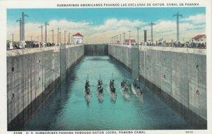 U.S. Submarines Passing Through GATUN LOCKS, Panama Canal, 1910-20s