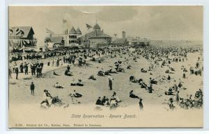 Beach Scene Revere Beach Massachusetts 1907c postcard