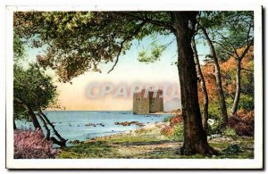 Old Postcard Ile St Honorat Monastery strengthens to the eastern tip of the i...
